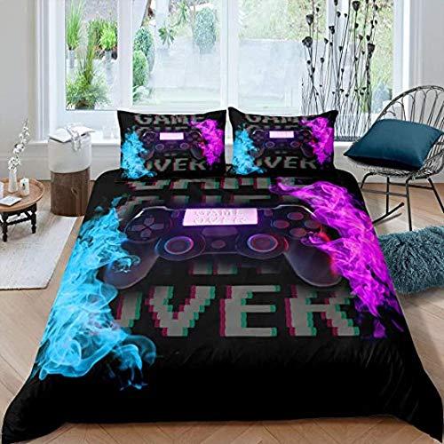 Juego de ropa de cama para jugadores, niños, adolescentes, videojuegos, decoración, funda de edredón vintage, novedad moderna, colcha de fuego azul y púrpura, camuflaje, joysticks, ropa de cama