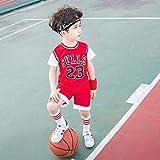 SYXBB-Lampe Bambini Maglie Set - Bulls Jordan # 23 Pallacanestro Camicia Canotta Estate Shorts per Ragazzi e Ragazze,Rosso,110