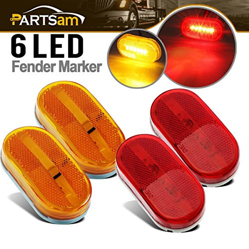 Partsam 4x LED Front Rear Side Marker Light Indicator for Boats Truck Trailer Amber & Red, 4 Inch RV Camper Trailer Rectangular Led Marker Clearance Lights with Reflex Lens 6 Diodes Waterproof 12V
