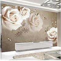 Xbwy 装飾壁画壁壁画ヴィンテージホワイトローズ壁紙リビングルームベッドルームロマンチックな家の装飾-200X140Cm