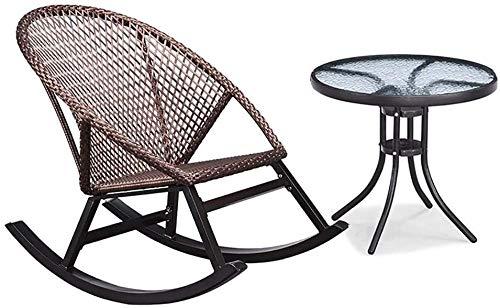 Sunbed Balkon Schaukelstuhl Startseite Kleiner Rattan-Stuhl Alter Erwachsener Freizeit Nap Gartenstuhl Stuhl, Last 200kg (Color : Rocking Chair+Coffee Table)