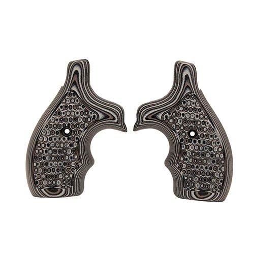 Hogue 61137 S&W J Frame Round Butt Grip, Bantam Piranha G-10 G-Mascus Black/Gray