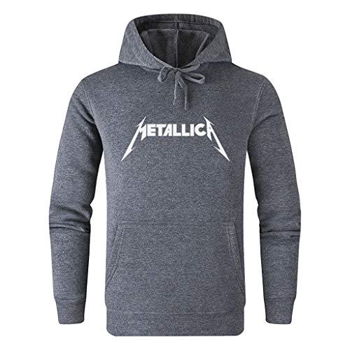 ACEGI Metallica patrón de Logotipo de Moda Deporte y Ocio Poner Sudadera con Capucha Estilo sólido Estampado de algodón de Color