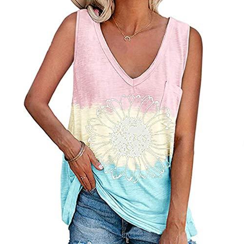 YANFANG Blusa Mujer Talla Grande,Camiseta De Color SóLido Informal Todo FóSforo Moda Verano para Chaleco Sexy Informal,Jersey Disney Mujer,Casual AlgodóN Blusas Tops Camisetas EláSticas