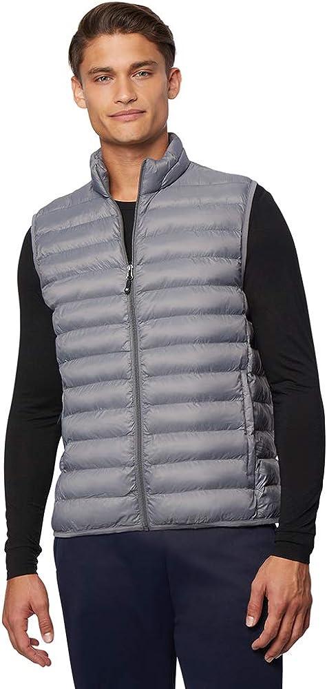 32 Degrees Men's Lightweight Water-Resistant Packable Puffer Vest, Chelsea Grey, Medium