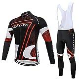 Moxilyn Abbigliamento Ciclismo da Uomo,Maglia Manica Lunga+Pantaloni Lunghi,Cuscino Gel 9D,Moda Set...