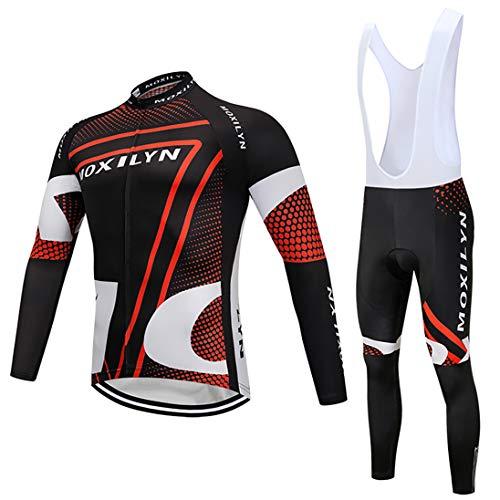 Moxilyn Abbigliamento Ciclismo Set,Autunno/Inverno Vello Maglia Con Lunghe Maniche Tuta+Pantaloni Lunghi di,Cuscino Gel 9D,MTB Anteriore Manica Lunga Bicicletta, Abbigliamento Sportivo per Bicicletta