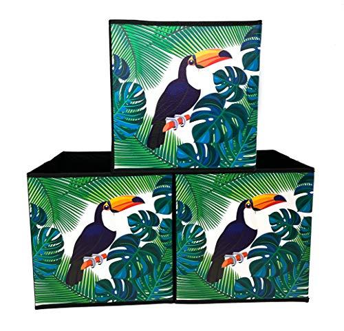 Cajas de Almacenaje Decorativas de Tela, Juego de 3, Organizadoras de Juguetes, Cubos Plegables Apilables para Organizar...