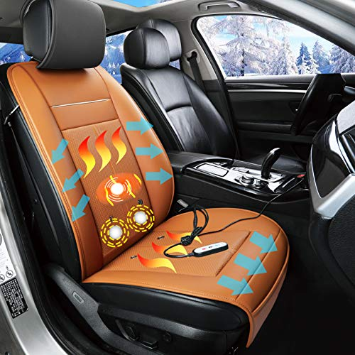 Fochutech Winter Leather Car Seat Covers, Warm Car Seat Cushion with Cooling, Vibration Massage Seat Cushion, 12V Universal Front Driver Seat Covers, for Cold Weather and Winter Driving (Orange)