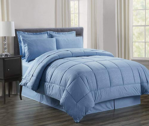 Luxury Bed-in-a-Bag Comforter Set on Amazon! Elegant Comfort Wrinkle Resistant - Silky Soft Beautiful Design Complete Bed-in-a-Bag 8-Piece Comforter Set -HypoAllergenic- King Light Blue