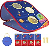 ELLOLLA Bean Bag Toss Game, Folding Cornhole Board Game with 8 Bean Bags, Tic Tac Game, 3 in 1 Space Design Gift Indoor Outdoor Toy for for Kids Teens Ages 4-15 Christmas Birthday