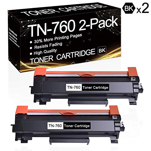 2 Pack TN-760 Black TN760 Toner Compatible Toner Cartridge Replacement for Brother MFC-L2710DW MFC-L2750DW MFC-L2750DWXL HL-L2350DW HL-L2370DW HL-L2370DWXL HL-L2390DW HL-L2395DW DCP-L2550DW Printers.