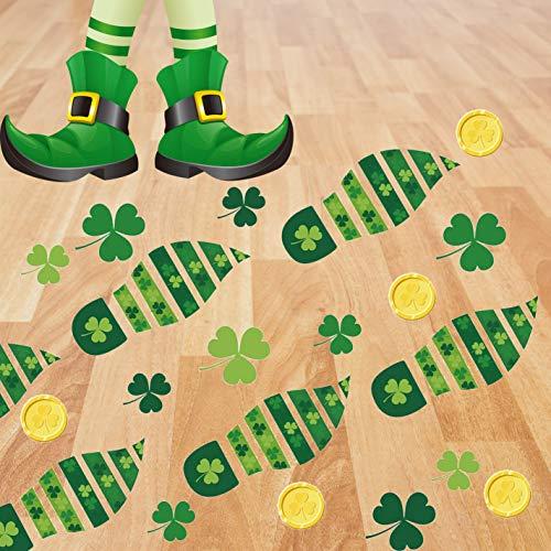 TOYOYO 8 Sheet/160 Pcs St. Patrick's Day Decorations Leprechaun Footprints Floor Stickers