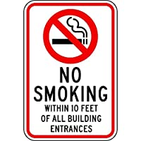 S-RONG雑貨屋 Reflective No Smoking X Feet ブリキブリキ 看板レトロ デザイン 20x30cm with English, White