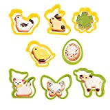 KAISHANE Mini Easter Cookie Cutter Set - 8 PCS Plastic Easter Cookie Cutter Egg,Rabbit,Butterfly,Flower,Chick,Sheep for Fondant Cookie DIY Baking