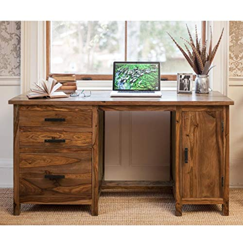 DRIFTINGWOOD Sheesham Wood, Teak Finish Writing Study Table with 3 Drawers and Cabinet Storage...