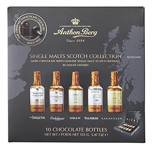 Anthon Berg - Cioccolatini al liquore – 5 con scotch whisky single malt di alta qualità – 10 bottiglie 155 g – con un delizioso ripieno liquido