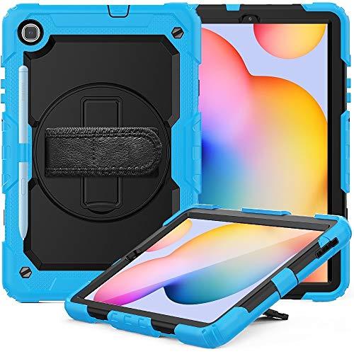 Fundas para tabletas Galaxy For la caja protectora de silicona de colores PC Samsung Galaxy Tab S6 Lite P610 a prueba de golpes con el soporte y la correa de hombro y correa de mano y pluma Slot Funda