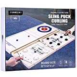 Curling and Fast Sling Puck Game 2 in 1 Family Board Game, Large Wooden Fast-Paced Curling Ball Game and Foosball Winner Game for Kids and Adults, Indoor Foldable Tabletop Game Set for Gift, Party