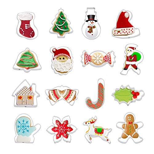 Colmanda Formine Biscotti Natalizie, 16 Pezzi Stampini Forme Biscotti Natale Tagliabiscotti Natalizi Set, Albero di Natale, Renna e Babbo Natale eccetera per Natale Bambini Biscotti Decorazioni (A)
