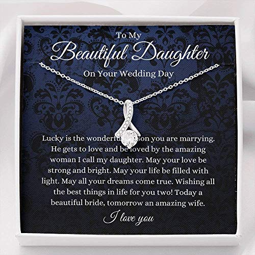 Petit Ribbon, Daughter Wedding Day Gift, To Bride From Mom Dad Necklace, Mother To Bride Gift, Bride Jewelry Gift From Father