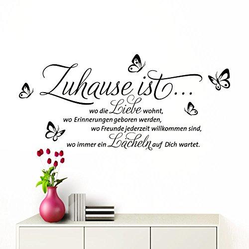 Grandora Wandtattoo Zuhause ist I schwarz (BxH) 100 x 53 cm I Schmetterlinge Wohnzimmer Spruch Aufkleber selbstklebend Wandaufkleber Wandsticker W1133