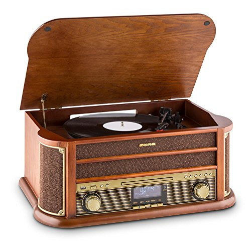 auna Belle Epoque 1908 - Retroanlage, Plattenspieler, Stereoanlage, Digitalradio, DAB+, Plattenspieler, Radio-Tuner, Bluetooth, CD-Player, MP3-fähig, RDS, Kassettendeck, USB-Port, braun