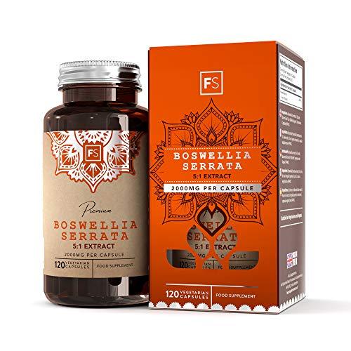 FS Extrait de encens naturel Boswellia Serrata 5: 1 HAUTE CONCENTRATION | 2000 mg par capsule | 120 capsules | Pour la douleur et l'inflammation | Sans additif, Sans OGM, sans gluten et sans lactose