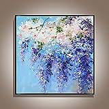 Pintura A Mano Gruesa Flor Púrpura Pintura Al Óleo En Lienzo - Abstracto De Gran Tamaño Pintura Mural Cartel Para La Entrada Del Corredor De Lujo De La Entrada De La Decoración Del Hogar, 70X70C