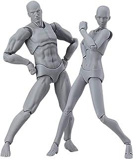 2個セット モデル人形 マネキン デッサンドール PVC 可動式 リアル 人形 素体 デザイン用 関節人形 塗装済み DIY 情景コレクション ジオラマ 教育 写真に グレー