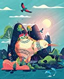 8x10 Kiwi Nursery Art Print New Zealand Art Whimsical Print Fantasy Folk Nature Design Colorful Travel Tropical Art Mountain Hiking Bird Illustration Kids Bedroom Decor Studio Ghibli Art Cute Wall Art