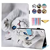 Amazon Kindle Fire 7 2015 2017 Case - Monstek Ultra Slim Lightweight Leather Smart Stand Cover Case Flip Protective Cover for Fire 7 Tablet 7' (5th Gen 2015 2017 Release),Lovely Cat