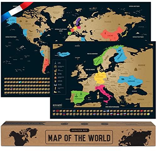 Carte du Monde a Gratter - en Français - Plus Carte Européenne - 68 X 43 CM - Dorée - Planisphere Monde - Map Carte Monde - Carte a gratter - Poster Carte du Monde - Scratch Off Travel Map