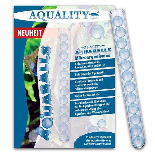 aquality Aquarium AQUABALLS - 12 Balls (Reduziert Ammonium, Ammoniak, Nitrit, Nitrat, Schlamm und Mulm - Beschleunigen die Aquarium-Einrichtung - Mikroorganismen)