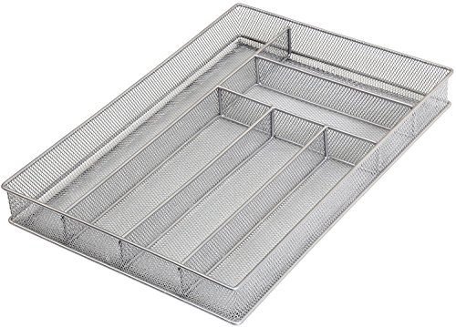 YBM Home Metal Silverware Organizer for In-Drawer Cutlery Storage, 6 Compartment Mesh Cutlery Flatware Tray Sorts Kitchen Utensils, Great for Office Supplies 1132s