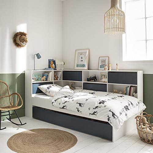 Alfred & Cie Magnus - Cama nido completa (90 x 190 cm), color blanco y azul
