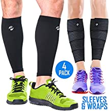 Calf Compression Sleeves and Leg Wraps (4 Piece) Shin Splint Support, Calve Guards for Men and Women - Braces Provide Healthy Circulation Pain Relief for Running, Basketball, Cycling, Maternity (S/M)
