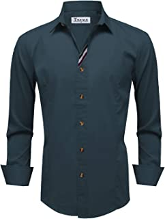 TAM WARE Mens Casual Slim Fit Basic Dress Shirts