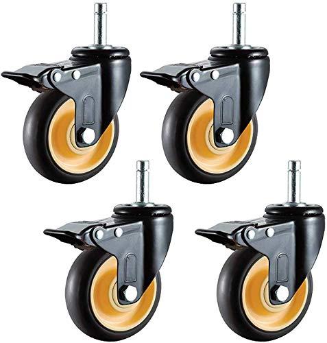 4 stuks. Zwenkwiel rubberwagen meubelwiel kogellagers met dubbele veiligheidsvergrendeling krachtige demper steekbouten M11x38 mm voor kantoor mobiele meubels (4 inch universeel + rem) 3-in-brake