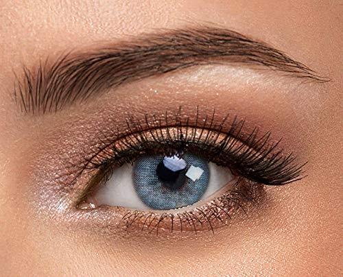 1 Paar blaue Kontaktlinsen von Solotica - Hochwertige Premium Augenfarben ändernde Kontaktlinsen - Tragedauer bis zu 1 Jahr - Der natürlich aussehende Weg der Augenfarbenänderung - Hidrocor Safira