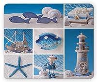 航海マウスパッド、海洋テーマデザインオブジェクト魚シェル貝ヒトデ真珠灯台ヨット、長方形滑り止めゴムマウスパッド、、ホワイトブルー