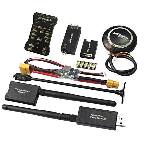 Hobbypower Pixhawk PX4 Flight Controller with Shock Absorber + 7M GPS 915Mhz Radio Wireless Telemetry OSD Module PPM Module RGB LED I2C Splitter Expand Power Module