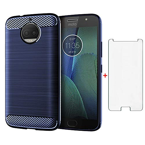 Phone Case for Motorola Moto G5S Plus with Tempered Glass Screen Protector Cover Cell Accessories Slim Thin Rugged Full Body Silicone Rubber Soft TPU Moto G5S+ G5Splus XT1803 Women Men Navy Blue