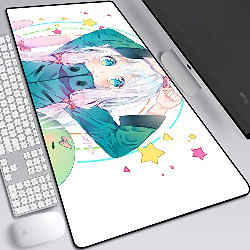YUBAIBA Anime Mauspad, Izumi Sagiri, Übergröße verdickte Mauspad, Tastatur-Pad, rutschfest wasserdichte Computer-Schreibtisch-Pad, Notebook Pad, GIF (Color : 900 * 400mm, Größe : 3mm)