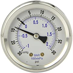 Stainless Steel Case and Bezel Brass Internals and Connection Phosphor Bronze Bourdon Tube Liquid Filled Plastic Lens