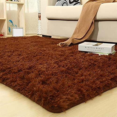 Mjukt fluffig flicka rum matta modernt liv sammet superfina fiber yoga förtjockad silke glidande levande soffbord sovrum säng (färg: brun) (Size : 140x200cm)
