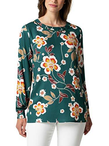 Walbusch Damen Viskose Shirtbluse Herbstblüten Gemustert Flaschengrün 38 - Langarm
