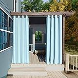 132x305cm Azul Cielo Cortinas para Exteriores con Ojales,Resistentes al Viento, Resistentes al Agua, Resistentes a la harina, para jardín, balcón, casa de Playa, vestíbulo, Cabana