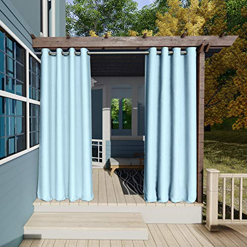 Clothink Outdoor Vorhänge Aussenvorhang Garten Verdunkelung Outdoor Gardinen 132x215cm(B x H) Hellblau Blickdicht Winddicht Wasserabweisend Sichtschutz Sonnenschutz UVschutz