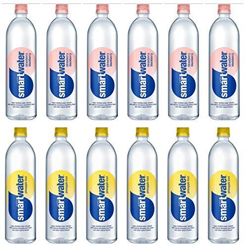 LUV BOX - Variety smartwater pack , 23.7 oz Bottles, pack of 12 , strawberry blackberry , pineapple kiwi